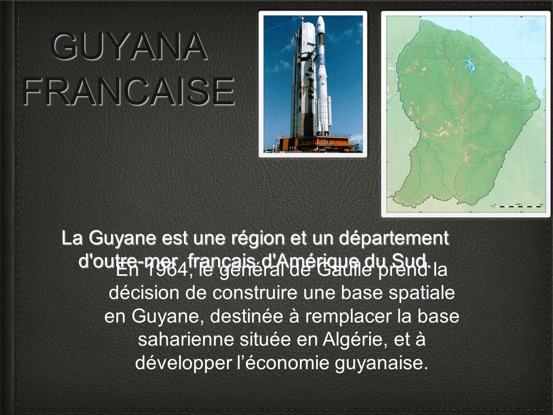 GUYANA FRANCAISELa Guyane est une région et un département d outre-mer français d Amérique du Sud.