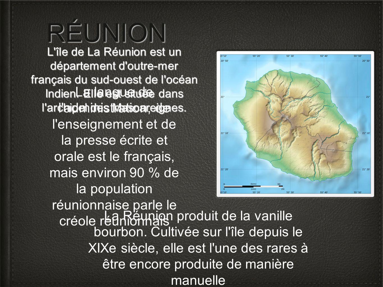 RÉUNION L île de La Réunion est un département d outre-mer français du sud-ouest de l océan Indien. Elle est située dans l archipel des Mascareignes.