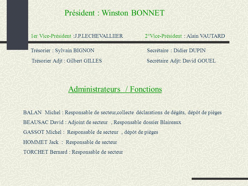 Président : Winston BONNET