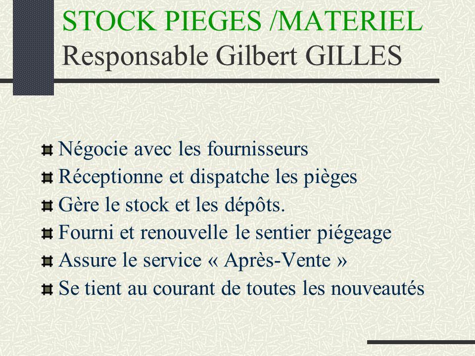 STOCK PIEGES /MATERIEL Responsable Gilbert GILLES