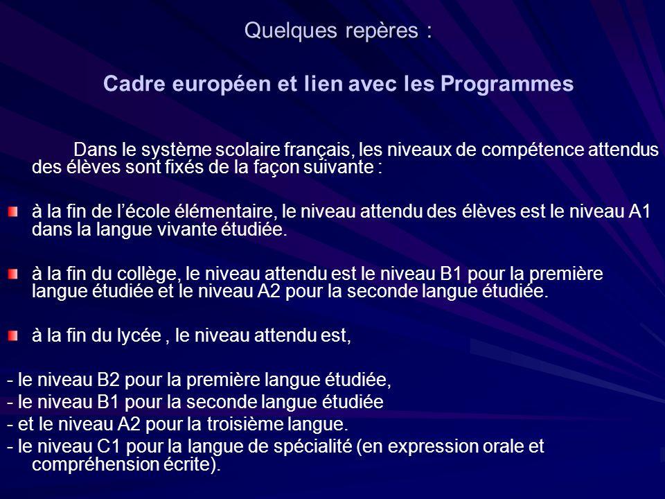 Quelques repères : Cadre européen et lien avec les Programmes