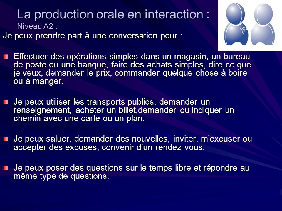 La production orale en interaction : Niveau A2 :