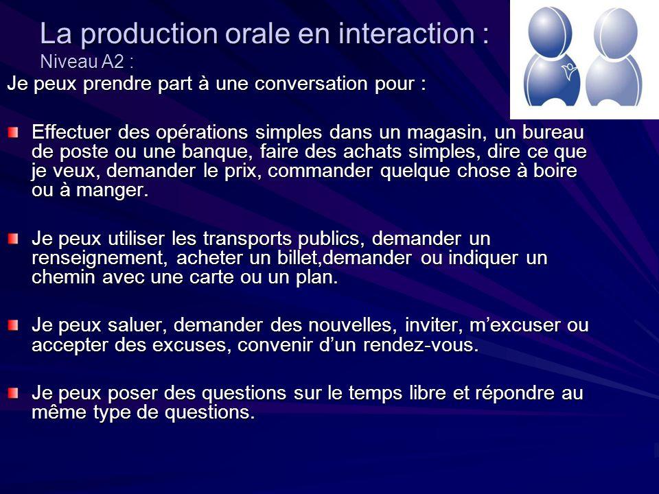 La production orale en interaction : Niveau A2 :