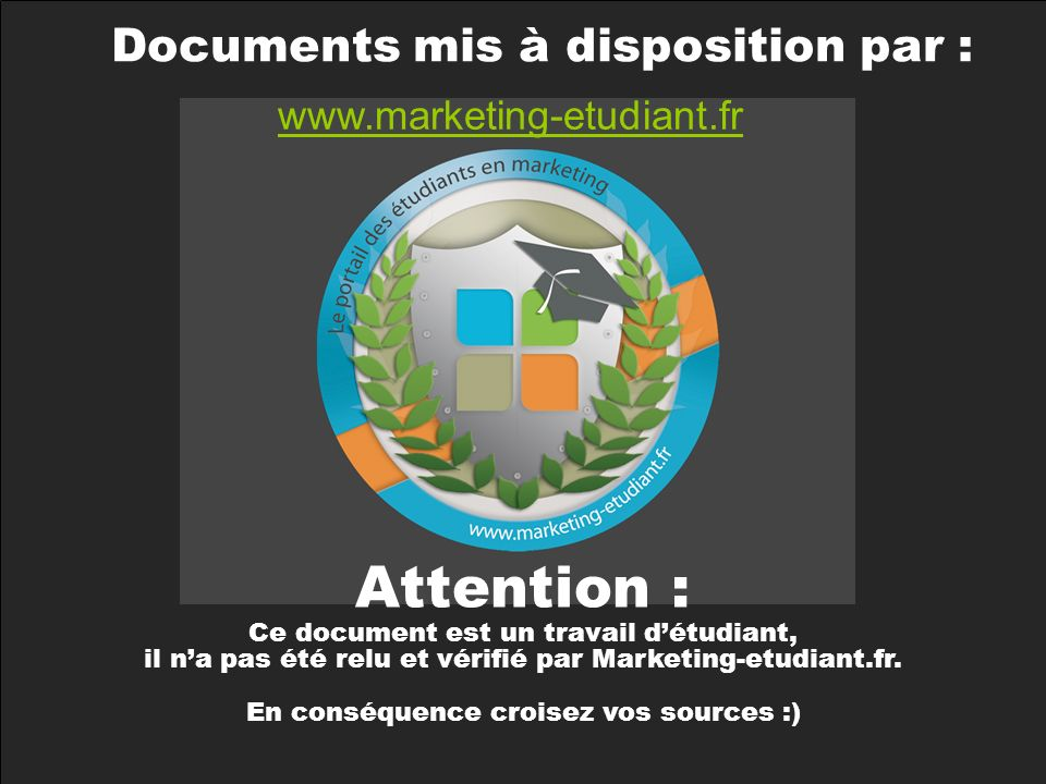 Attention : Ecueils à éviter Documents mis à disposition par :