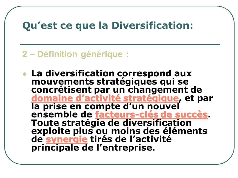 Qu'est ce que la Diversification: