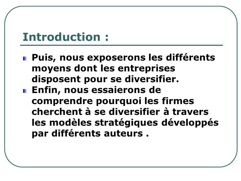 Introduction : Puis, nous exposerons les différents moyens dont les entreprises disposent pour se diversifier.