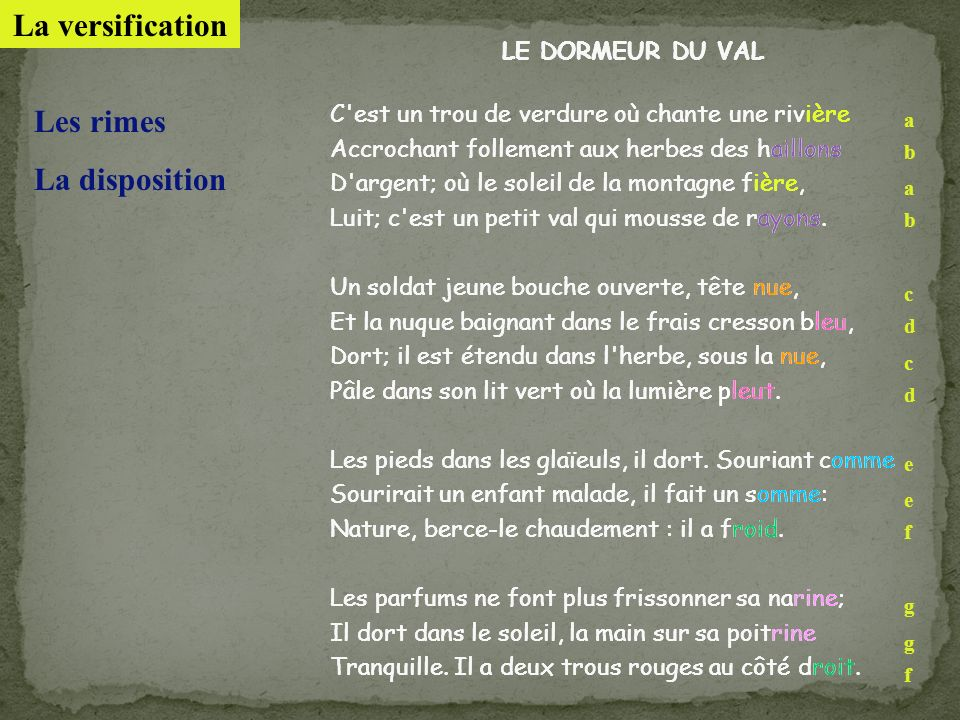 La versification Les rimes La disposition LE DORMEUR DU VAL
