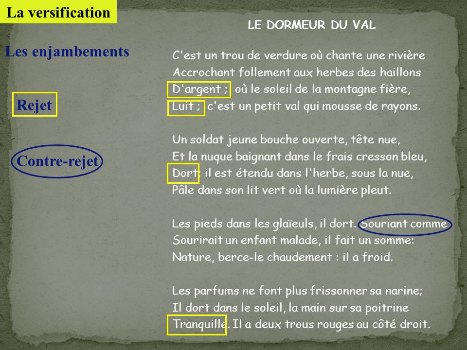 La versification Les enjambements Rejet Contre-rejet LE DORMEUR DU VAL