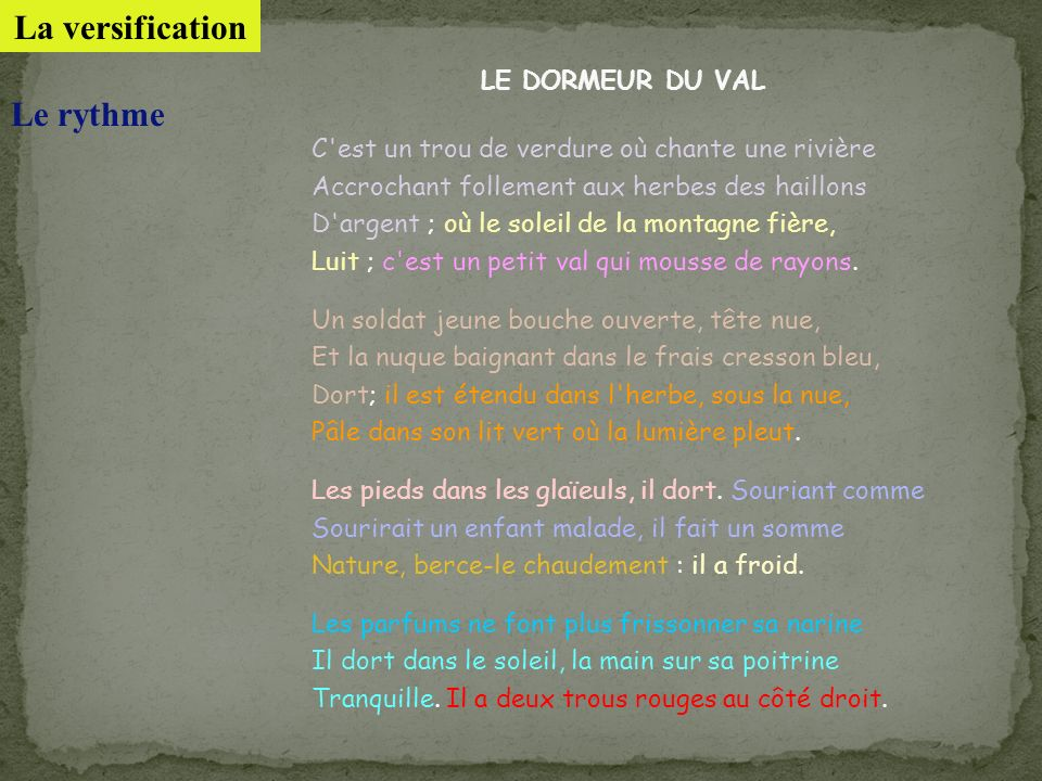 La versification Le rythme LE DORMEUR DU VAL