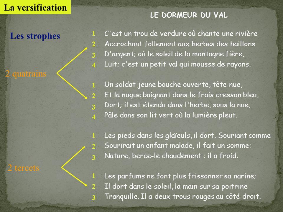 La versification Les strophes 2 quatrains 2 tercets LE DORMEUR DU VAL