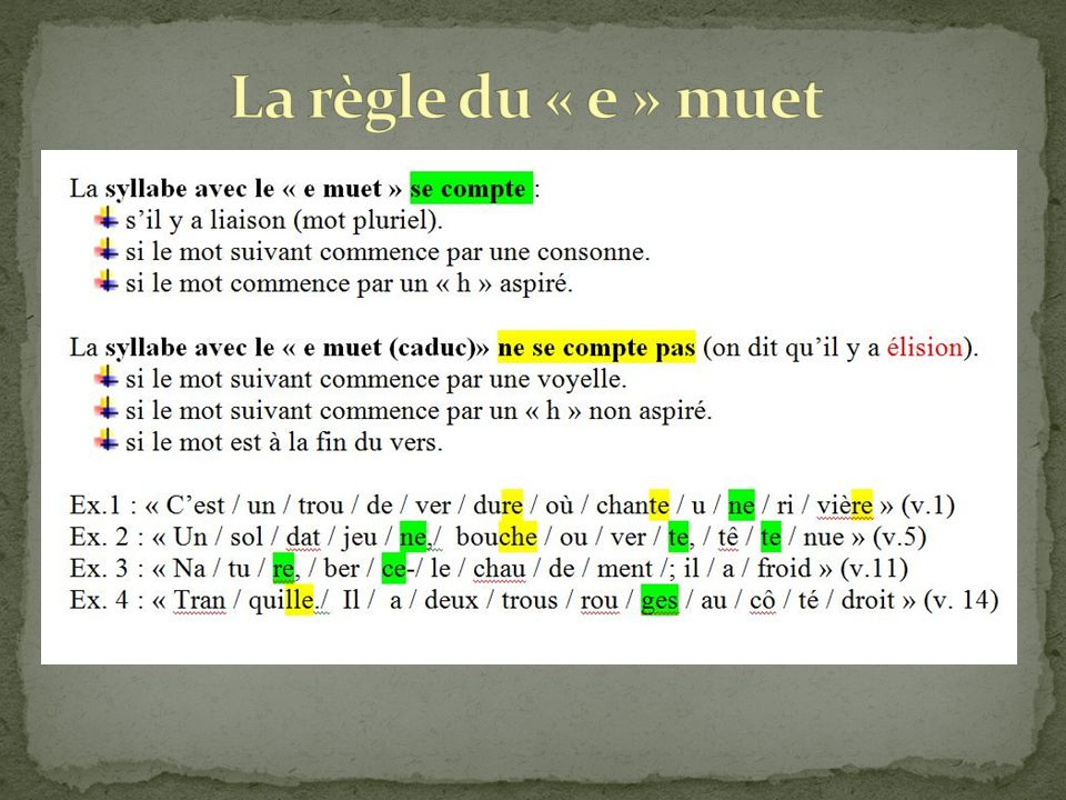 La règle du « e » muet