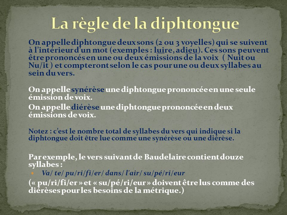 La règle de la diphtongue
