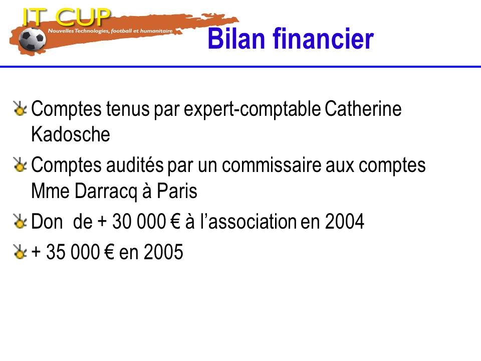 Bilan financier Comptes tenus par expert-comptable Catherine Kadosche