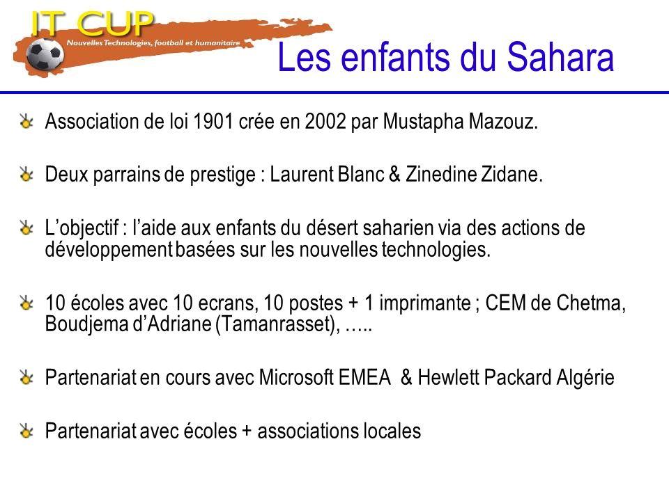 Les enfants du Sahara Association de loi 1901 crée en 2002 par Mustapha Mazouz. Deux parrains de prestige : Laurent Blanc & Zinedine Zidane.
