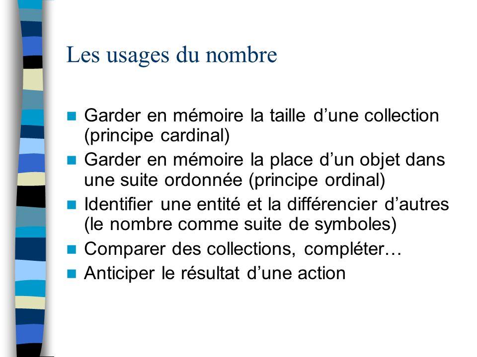 Les usages du nombre Garder en mémoire la taille d'une collection (principe cardinal)