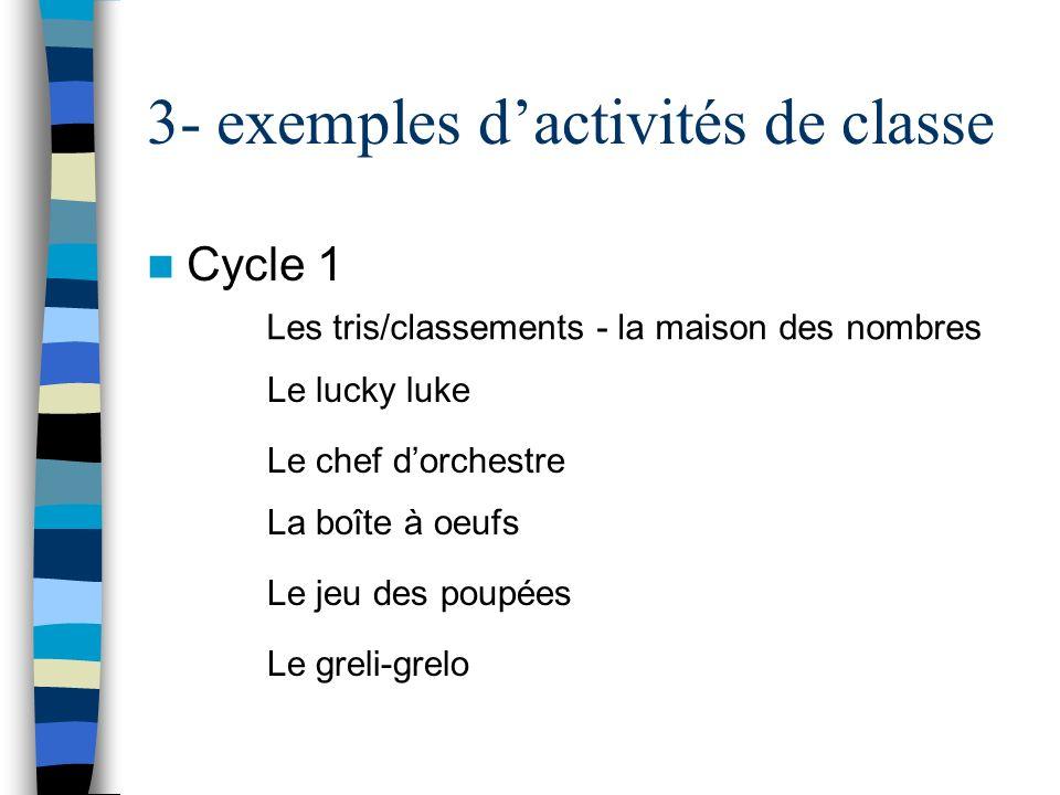 3- exemples d'activités de classe