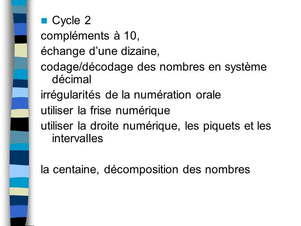 Cycle 2compléments à 10, échange d'une dizaine, codage/décodage des nombres en système décimal. irrégularités de la numération orale.