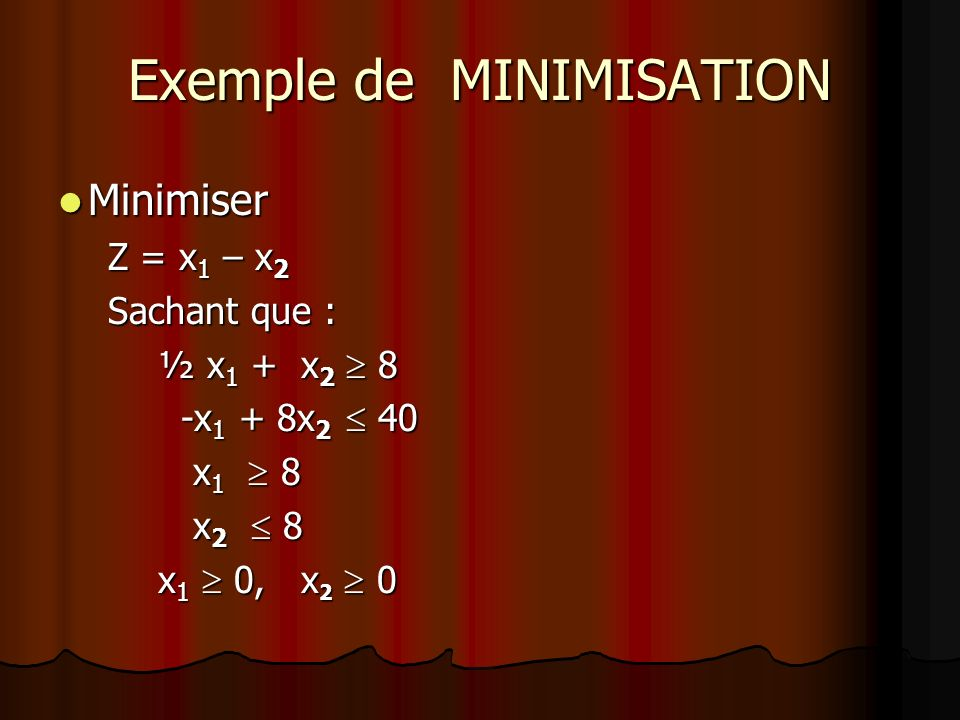 Exemple de MINIMISATION