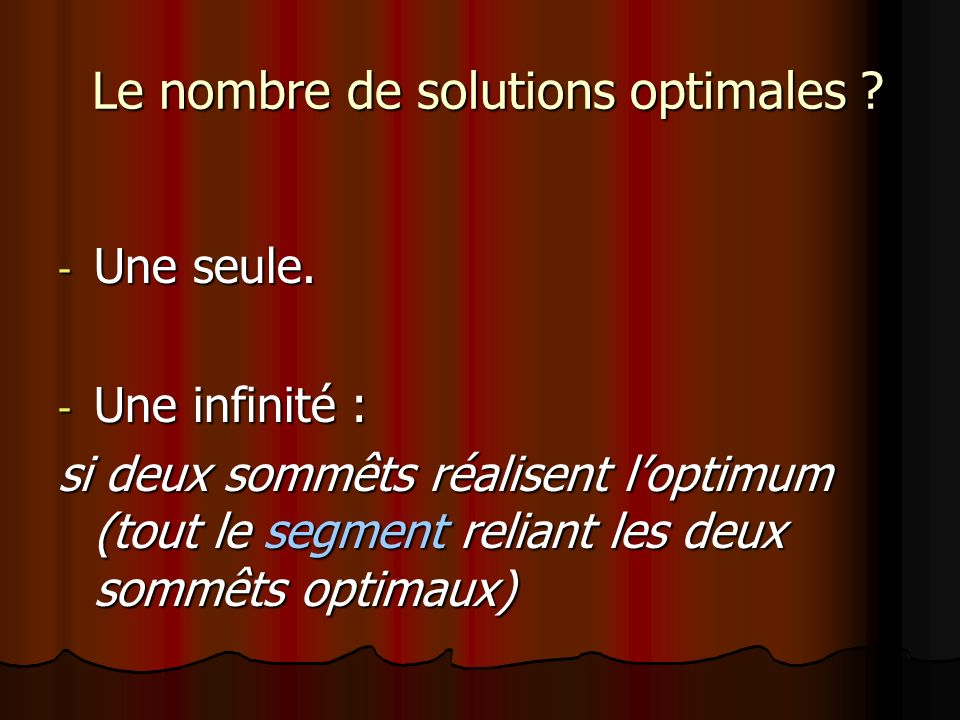 Le nombre de solutions optimales