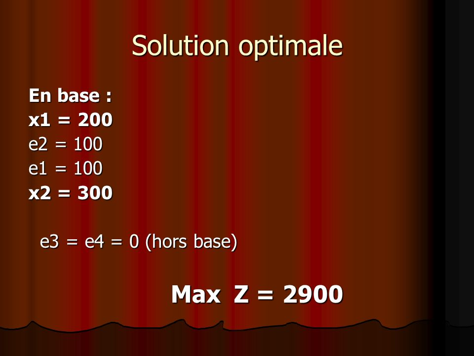 Solution optimale En base : x1 = 200 e2 = 100 e1 = 100 x2 = 300