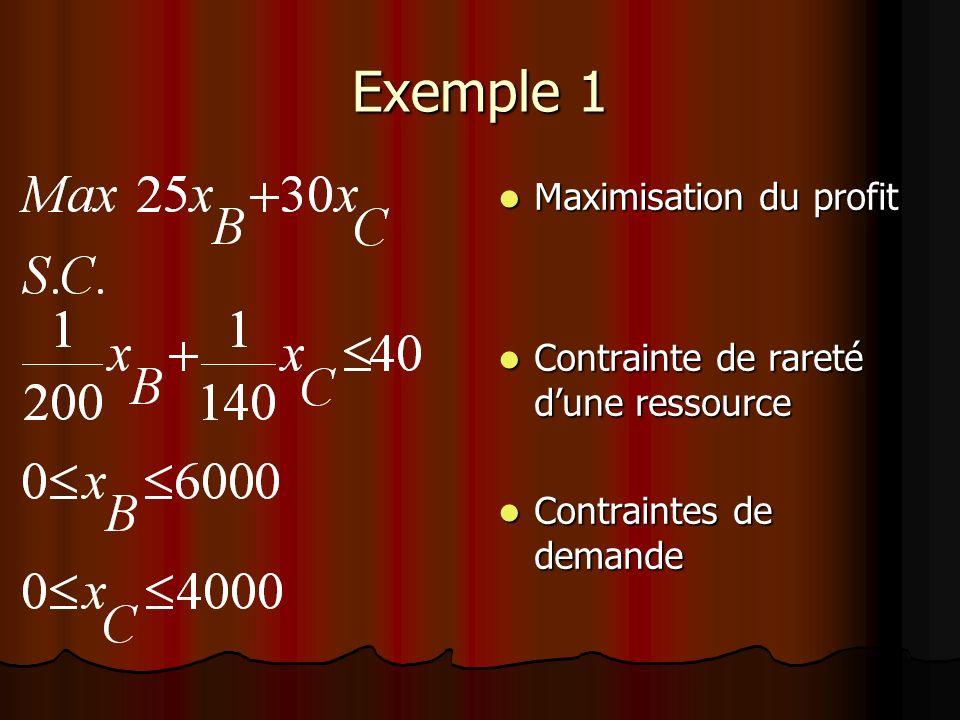 Exemple 1 Maximisation du profit Contrainte de rareté d'une ressource