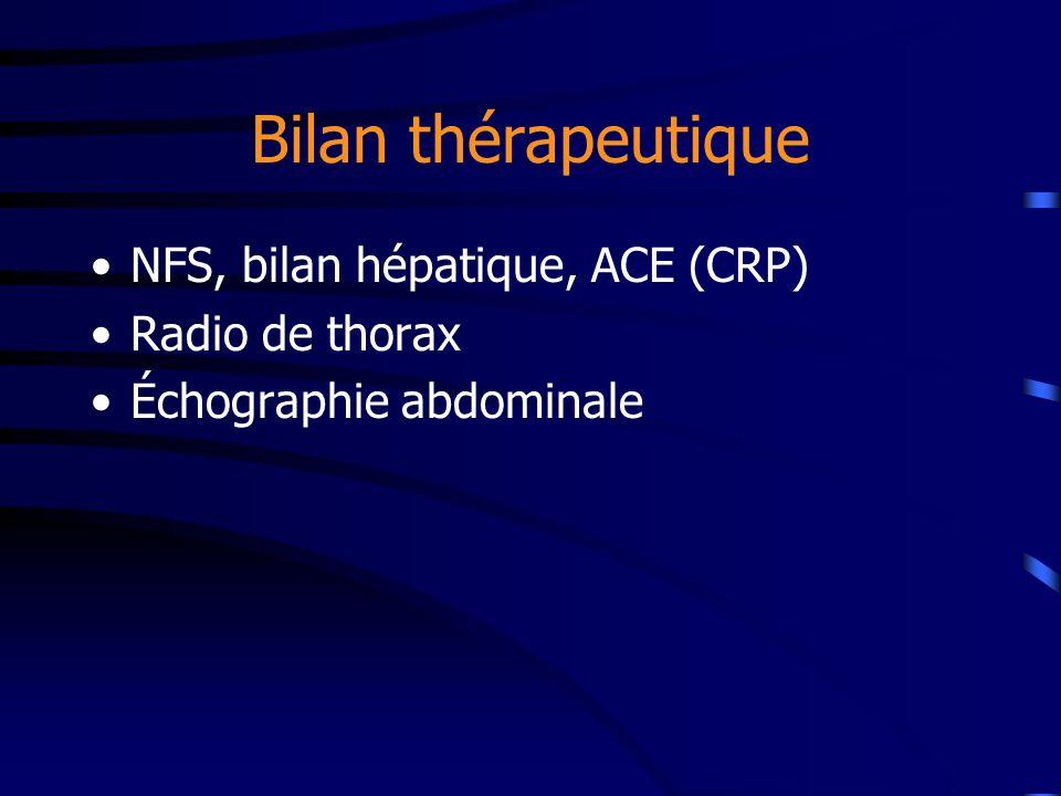Bilan thérapeutique NFS, bilan hépatique, ACE (CRP) Radio de thorax