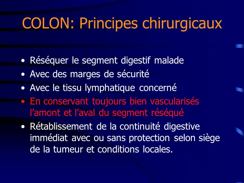 COLON: Principes chirurgicaux