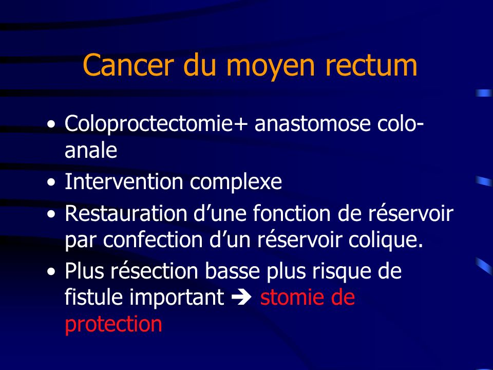 Cancer du moyen rectum Coloproctectomie+ anastomose colo-anale