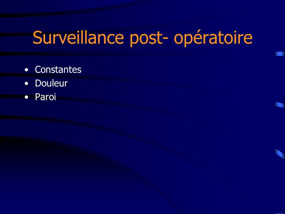 Surveillance post- opératoire