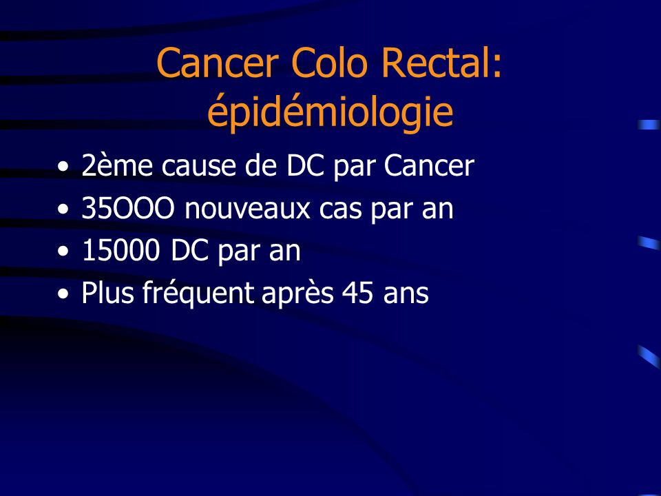 Cancer Colo Rectal: épidémiologie