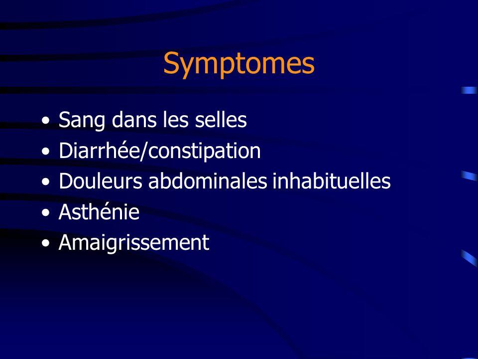 Symptomes Sang dans les selles Diarrhée/constipation