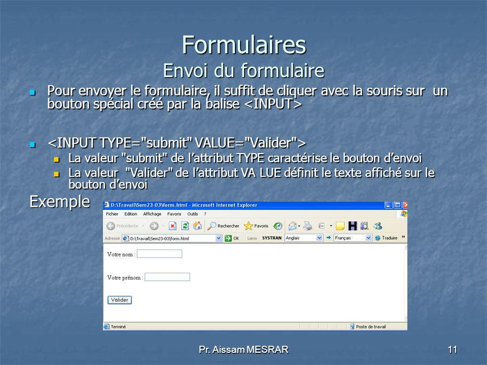 Formulaires Envoi du formulaire
