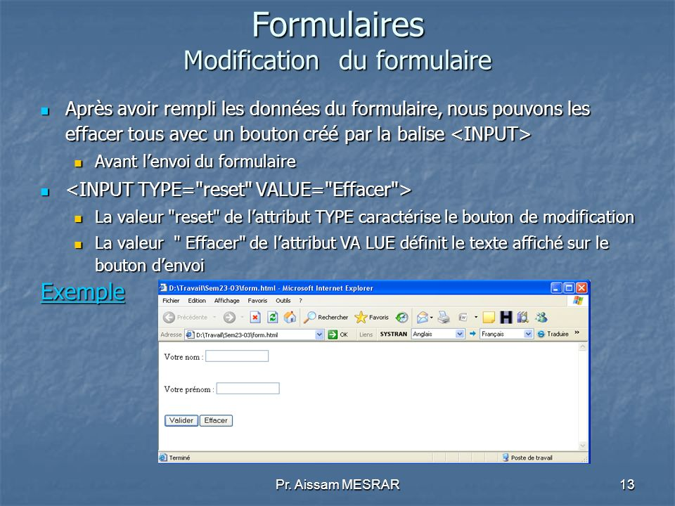 Formulaires Modification du formulaire