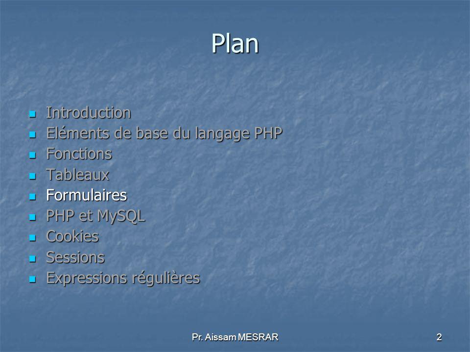 Plan Introduction Eléments de base du langage PHP Fonctions Tableaux