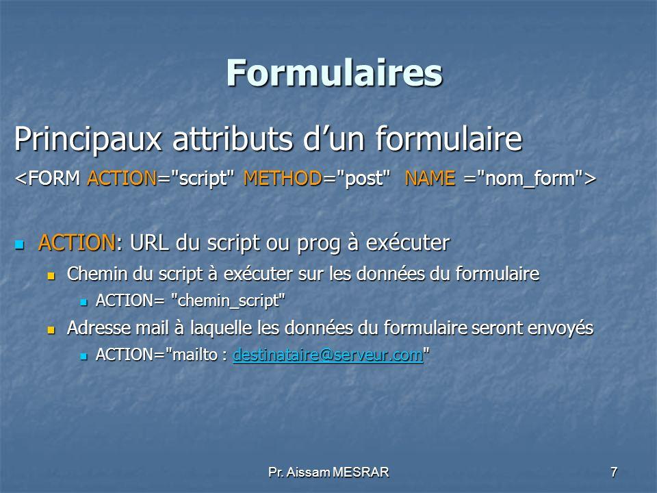 Formulaires Principaux attributs d'un formulaire
