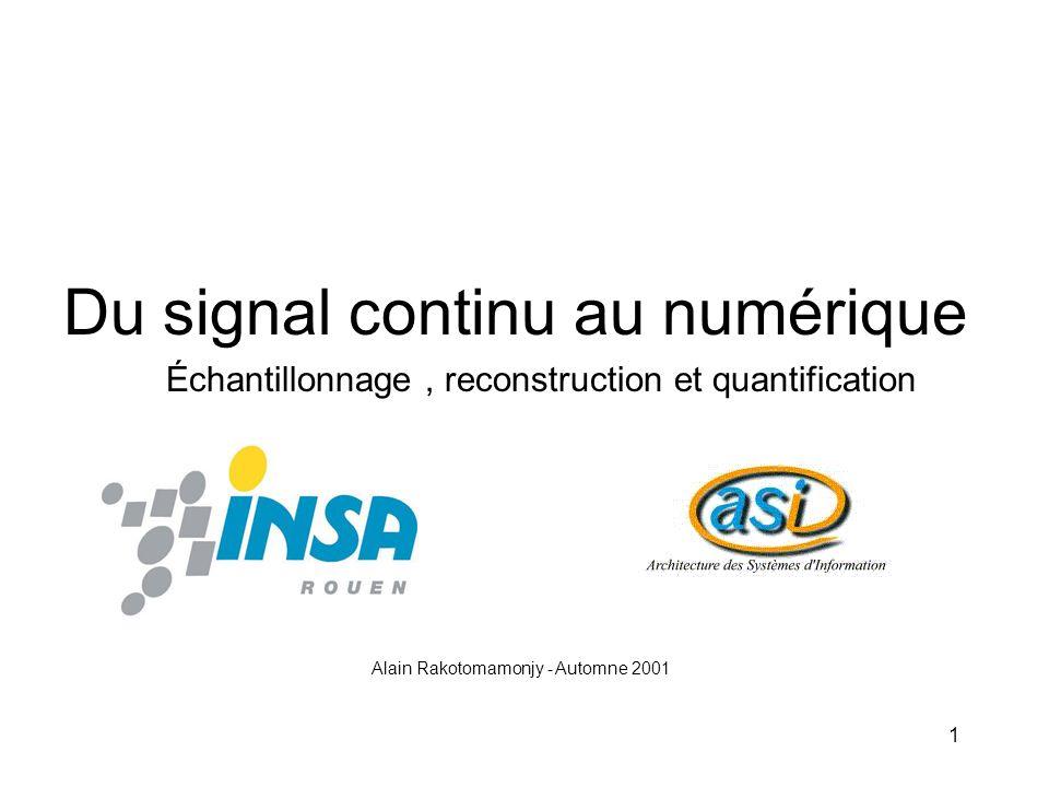Du signal continu au numérique