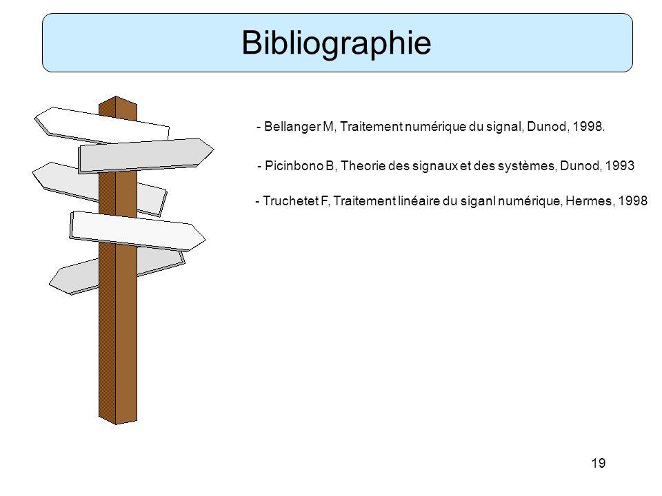Bibliographie - Bellanger M, Traitement numérique du signal, Dunod, 1998. - Picinbono B, Theorie des signaux et des systèmes, Dunod, 1993.