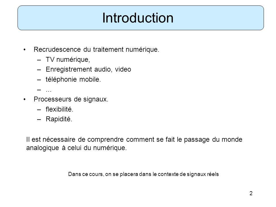Introduction Recrudescence du traitement numérique. TV numérique,