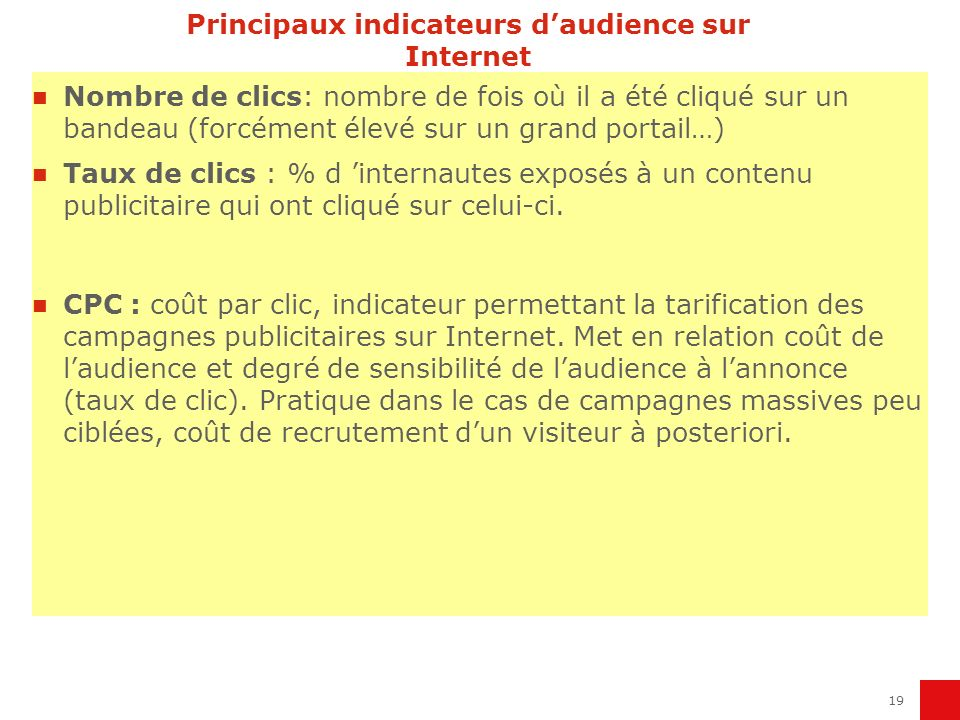 Principaux indicateurs d'audience sur Internet