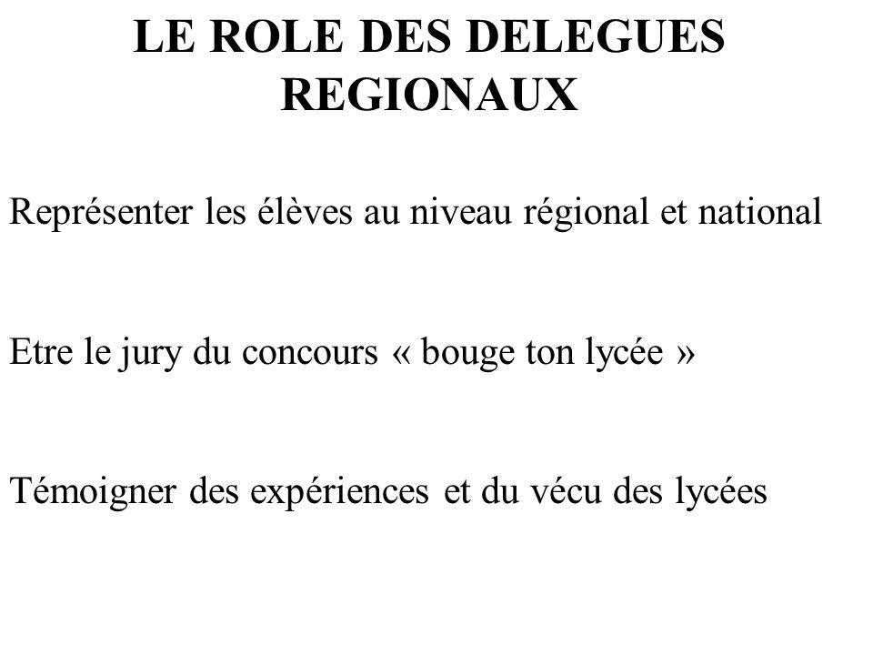 LE ROLE DES DELEGUES REGIONAUX