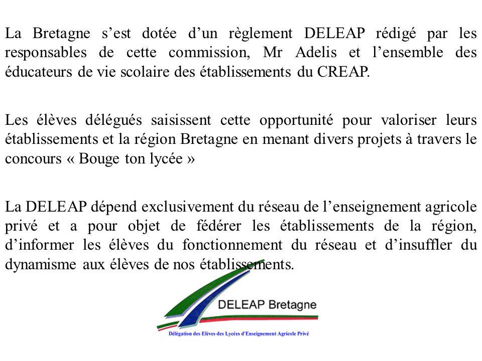 La Bretagne s'est dotée d'un règlement DELEAP rédigé par les responsables de cette commission, Mr Adelis et l'ensemble des éducateurs de vie scolaire des établissements du CREAP.