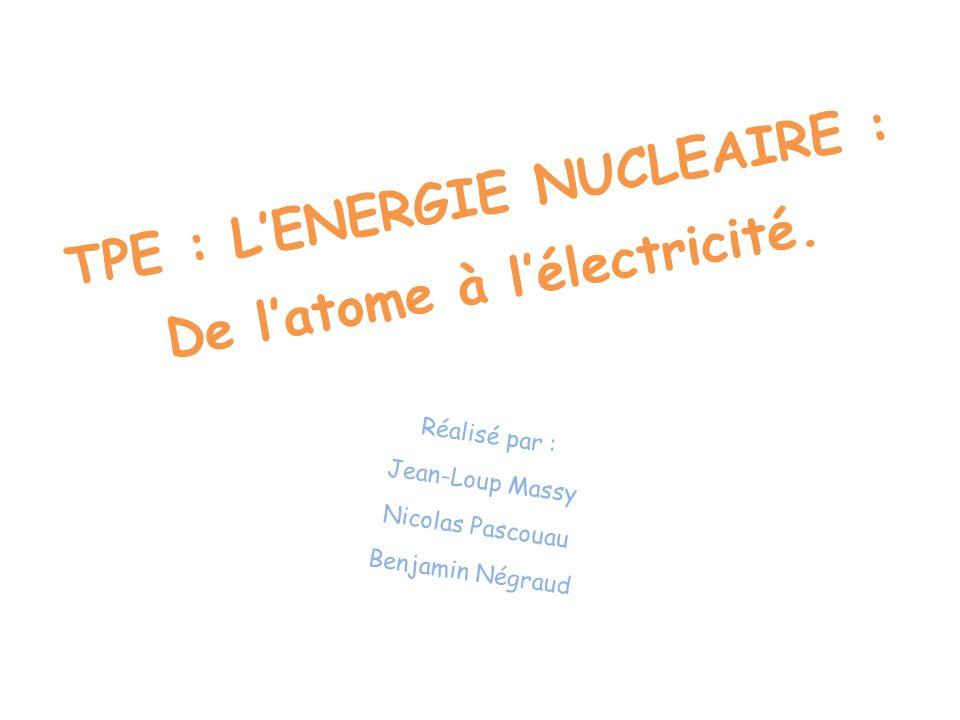 TPE : L'ENERGIE NUCLEAIRE : De l'atome à l'électricité.