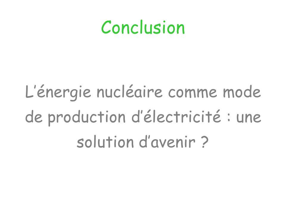 Conclusion L'énergie nucléaire comme mode de production d'électricité : une solution d'avenir