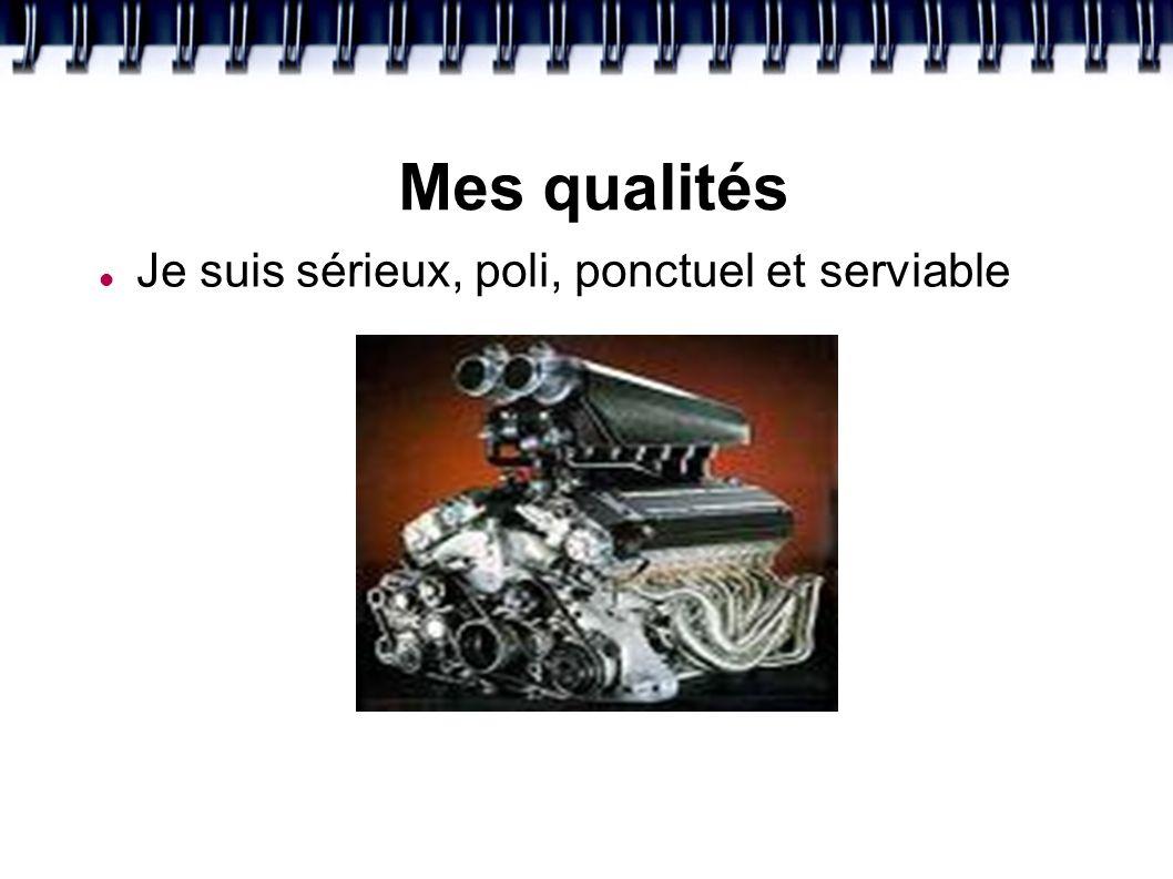 Mes qualités Je suis sérieux, poli, ponctuel et serviable
