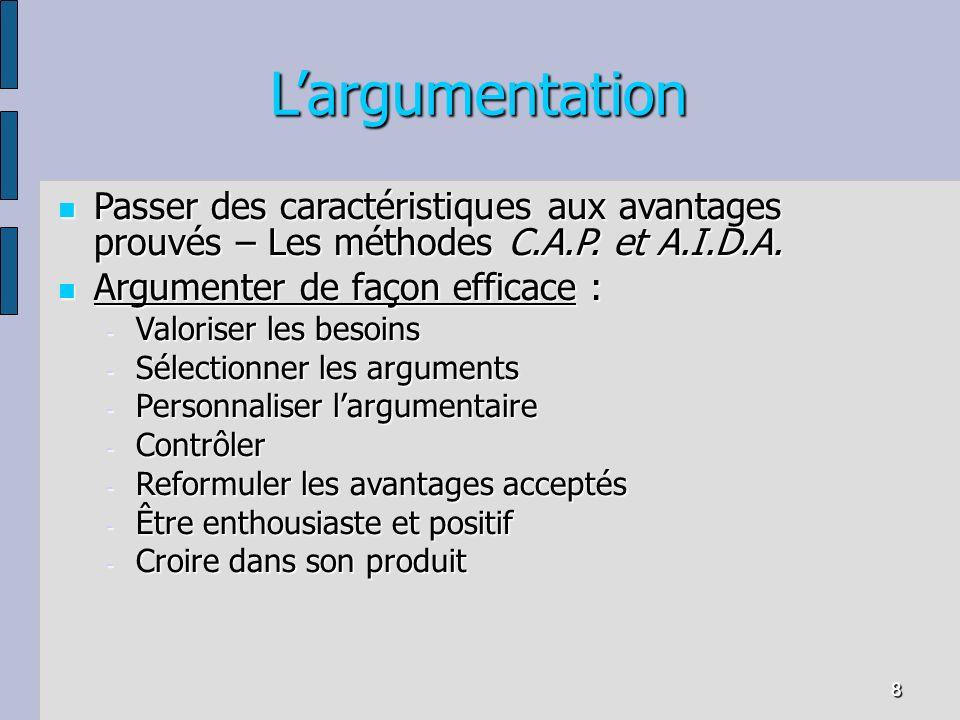 L'argumentation Passer des caractéristiques aux avantages prouvés – Les méthodes C.A.P. et A.I.D.A.