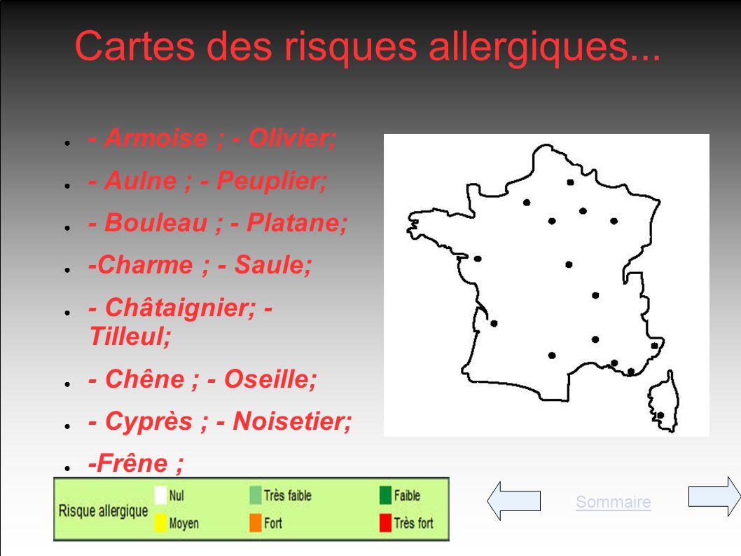Cartes des risques allergiques...