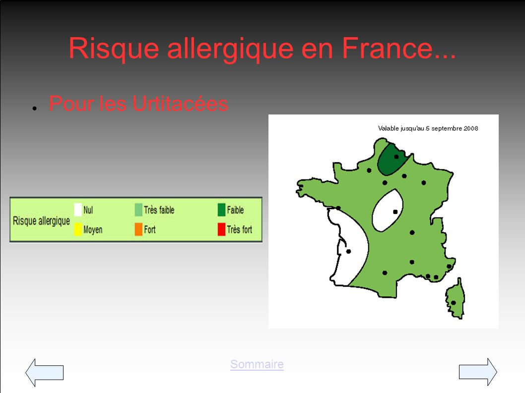Risque allergique en France...