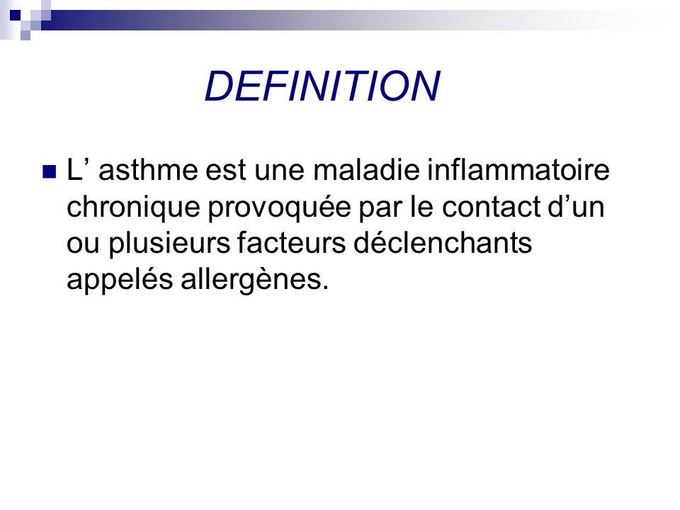 DEFINITION L' asthme est une maladie inflammatoire chronique provoquée par le contact d'un ou plusieurs facteurs déclenchants appelés allergènes.
