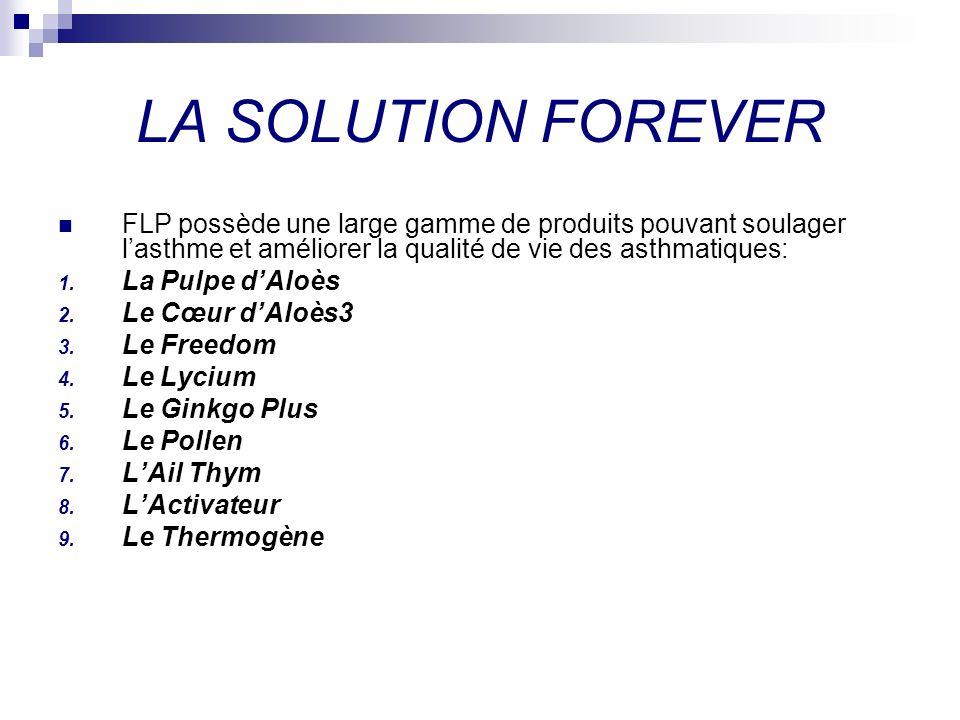 LA SOLUTION FOREVER FLP possède une large gamme de produits pouvant soulager l'asthme et améliorer la qualité de vie des asthmatiques:
