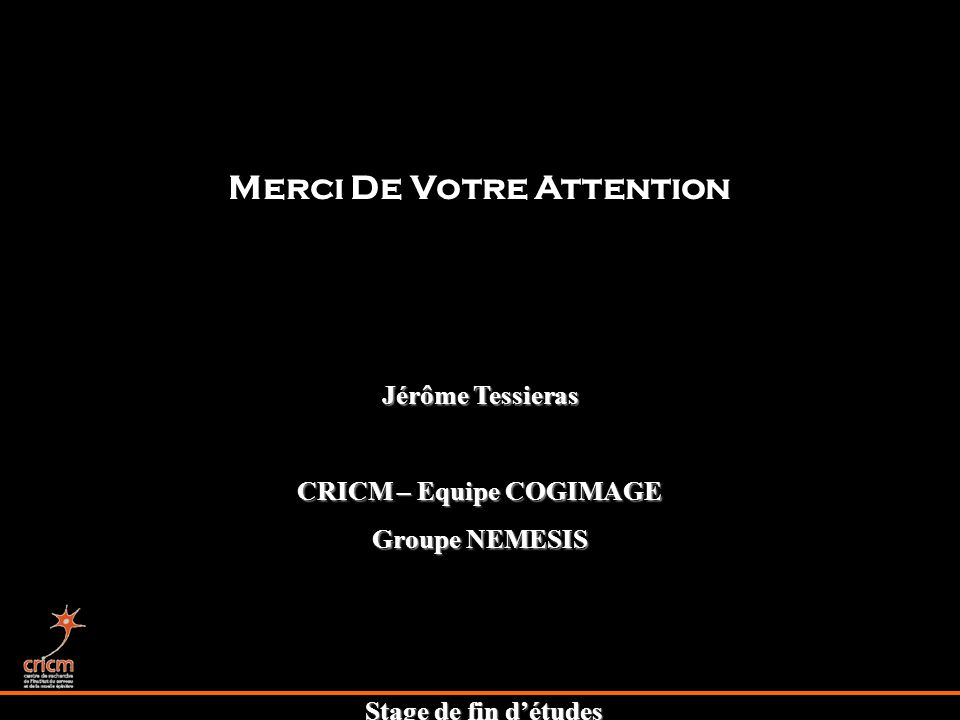 Merci De Votre Attention CRICM – Equipe COGIMAGE